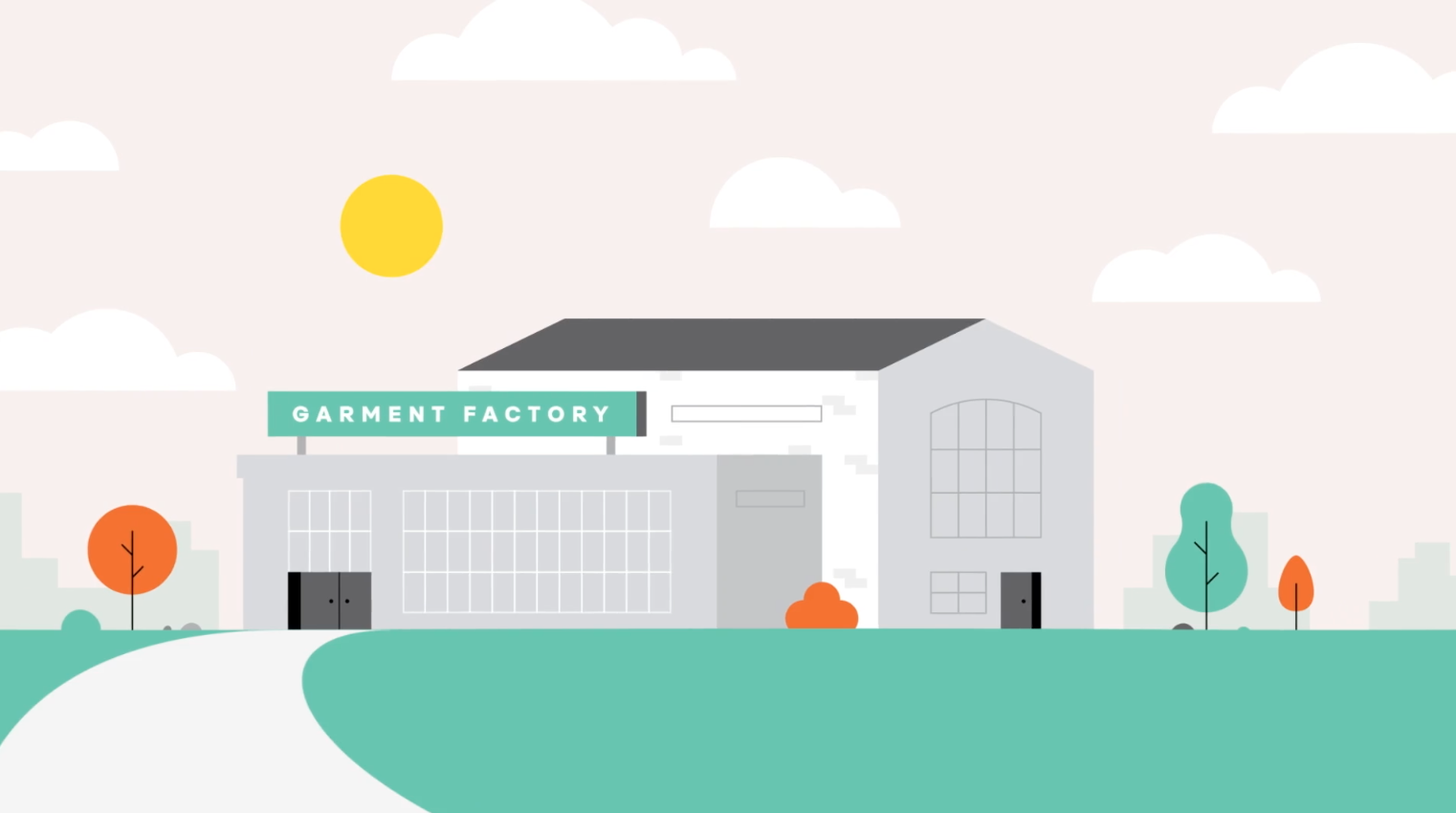 Animated Building with the words Garment Factory