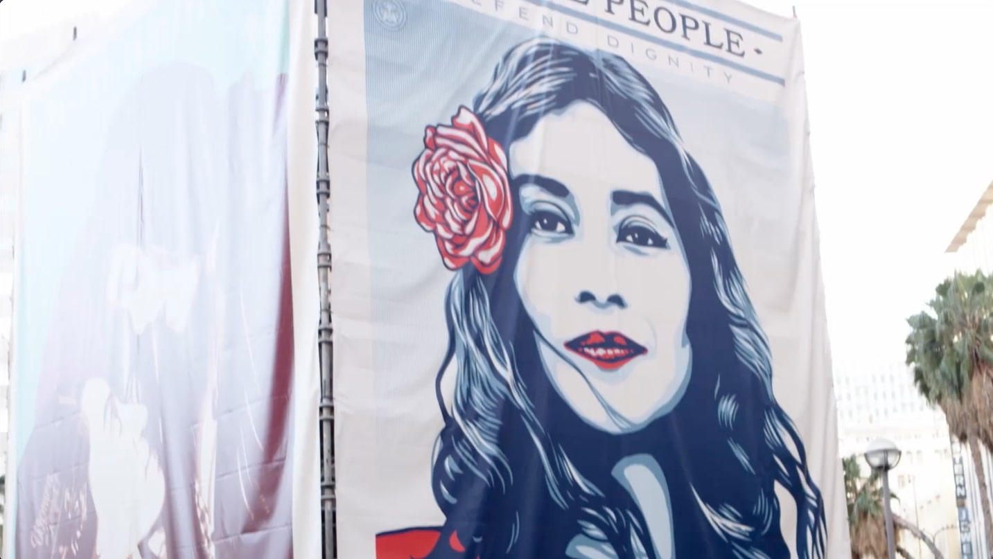 Image from We The People, an Amplifier campaign, on a large banner